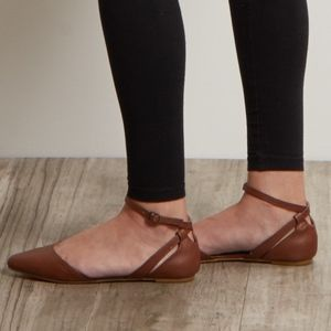 Brown Pointed Ankle Strap Flats